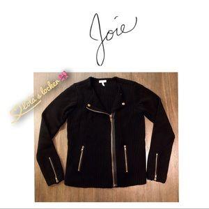 Joie Ribbed Moto Wool Sweater Jacket